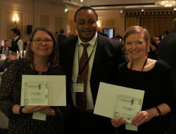 Sarah Thompson Turvey, Cashain David and Linda Bryant at the awards ceremony